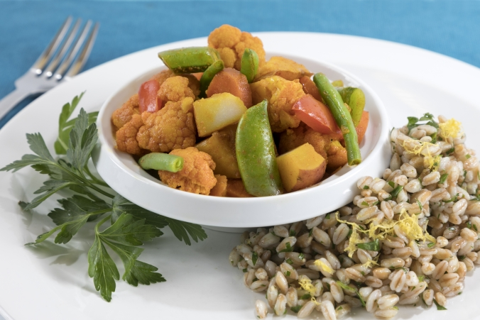 Vegetable curry with lemon herb farro